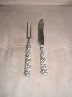JACOBI JENKINS STERLING SILVER REPOUSSE PATTERN CARVING SET KNIFE FORK