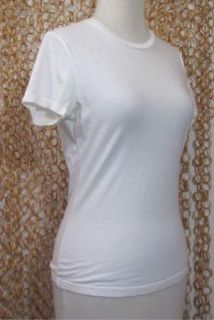James Perse Ivory Soft Short Sleeve Cotton Crew Neck Shirt Tee Top 2 M