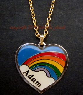 Vintage Retro Metal Heart Rainbow Name Pendant Adam Ed Brian Karen etc