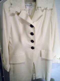 Jacques Fath Winter White Angora Skirt Suit Size 10 42