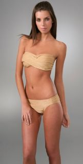 Shoshanna Metallic Gold Twist Bandeau Bikini Top