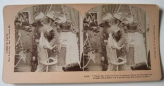 Santa Claus Christmas 1897 Stereoview Tree Toys Drum Doll Decorations