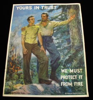 1939 James Montgomery Flagg Forest Service Fire Safety Poster Vintage