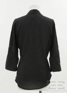 James Perse 2pc Black White Cotton Button Front Shirt Set Size 2