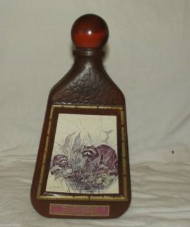 JIM BEAM JAMES LOCKHART RACOON ART REGAL CERAMIC WHISKEY DECANTER