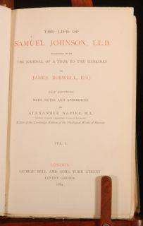 1884 4 Vols Life of Samuel Johnson by Boswell Napier