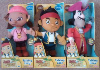 NEW Jake and the Neverland Pirates TALKING PLUSH JAKE IZZY HOOK dolls
