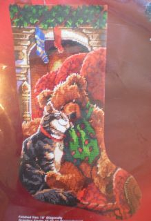 Janlynn CUDDLES STOCKING Christmas Needlepoint Kit cat teddy bear