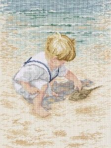 Janlynn Boy with Horseshoe Crab Counted Cross Stitch Kit 029 0047