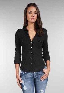 Ladies James Perse Button Front Contrast Classic Shirt Top Sz 2 s M