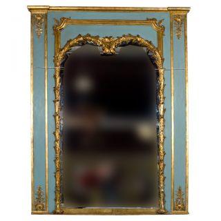 Stamped Jansen Gilt Wood Paint Decorated Trumeau Mirror