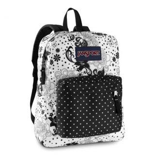 New Jansport Superbreak Black White Polka Dot Backpack Bookbag School