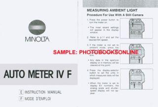 Minolta Auto Meter IV F Instruction Manual E F