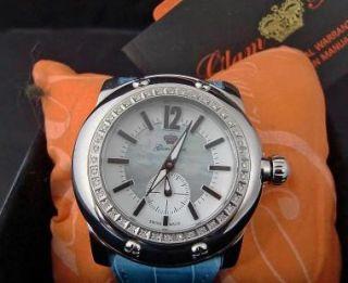 Womens New Glam Rock Luxury MOP Watch 40 White Diamond Bezel Blue
