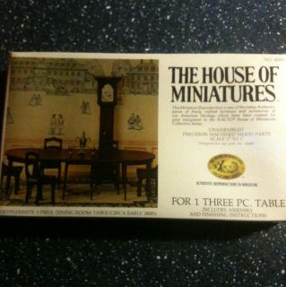 House of Miniatures Doll Furniture Kit Hepplewhite 3 PC Dining Room