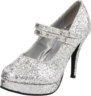 High Heel Silver Glitter Double Strap Mary Jane 421 Jane G SLVG