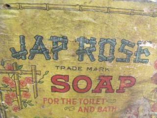 Primitive Antique Jap Rose Soap Box Crate Original Label JAS s Kirk Co