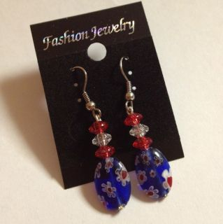 Red White Blue Millifiore Beaded Hearts Earrings With Silvertone Hooks