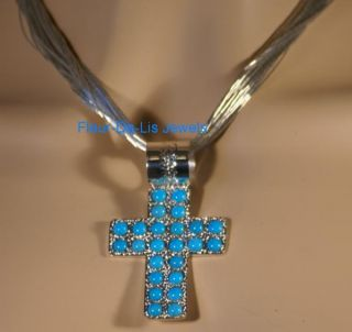 Jay King Sleeping Beauty Turquoise Cross Pendant