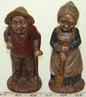 Figurines 19th Century Old Man Woman Settlers 1974 Janet