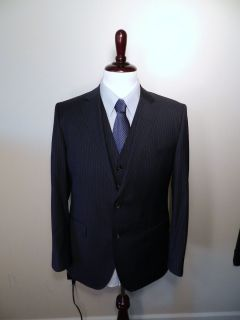 1145 Hugo Boss 42R James Sharp2 Dark Blue Stripe 3 Piece Business Suit