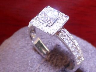 Jared Certified Colorless Princess Halo Diamond Vintage Style