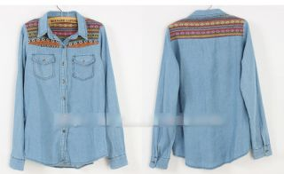 Ladies Hot Jean Denim Retro Vintage Shirts Tops Western Jean