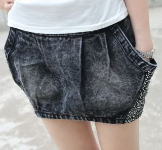 Jeans Skirt with Rhinestones Short Bottom Denim Jean Skirt Size M