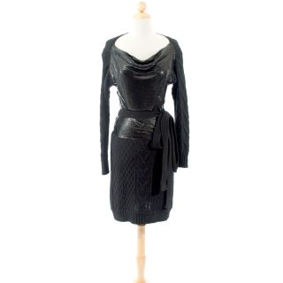 Jean Paul Gaultier Black Chain Mail Knit Dress Dress Size Large
