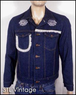 vtg 70s 80s RUSTLER blue DENIM JEAN JACKET w/ FUNNY FRILLY DOILY LACE