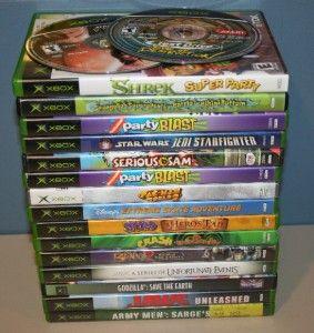 Lot of 18 Xbox Games Jaws Godzilla Star Wars Kids Games