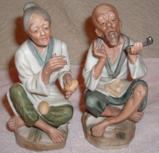 Pair Vintage Arco Dallas Japanese Oriental Figurines 60s 70s Old Man