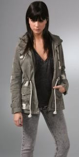 Charlotte Ronson Bleach Splattered Army Jacket