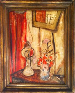 Jane Clara Berlandina Still Life with Flowers Hurricane Lamp Signed L