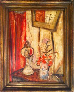 Jane Clara Berlandina Still Life with Flowers Hurricane Lamp Signed L