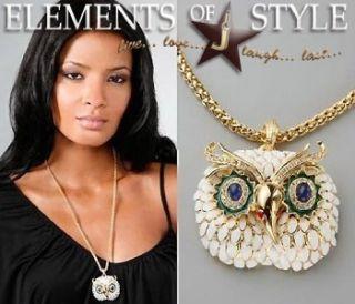 Vintage Kenneth Jay Lane Enamel Owl Gold Necklace
