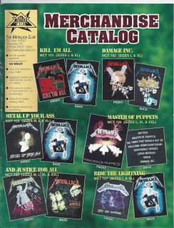 Merch Catalog Metallica Club James Hetfield Jason Newsted Rare SO What
