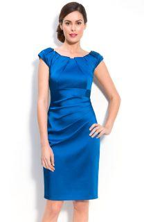 New JAX Pleat Neck Stretch Satin Sheath Dress Size 4 Cobalt Blue