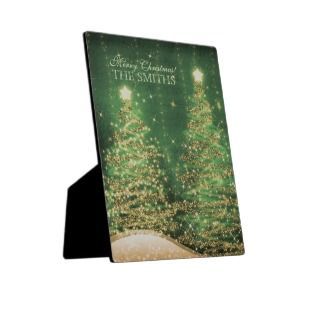 Family Christmas Sparkling Trees Custom Green Photo Plaques