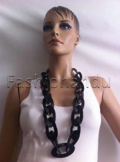 Kenneth Jay Lane Black Resin Link Necklace