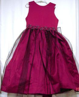 Girls JAYNE COPELAND Burgandy red Holiday dress beading Tulle skirting