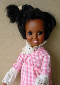 1968 Black Crissy Growing Hair Ideal 18 Doll w Gingham Dress African