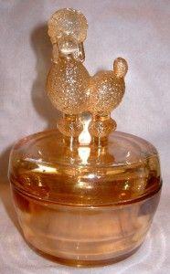 Vintage 1950s Jeannette Glass French Poodle Dog Powder Jar Box