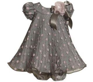 Bonnie Jean Baby Girls Grey Flocked Mesh Pageant Wedding Holiday Dress