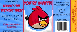 Personalized Angry Birds Ticket Style Birthday Party Invitations