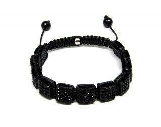 Out All Black CZ Pave Bead Hip Hop Macrame Jay Z Bracelet Box