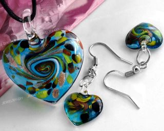 Kit Heart Lampwork Glass Bead Pendant Earrings Chic Hot