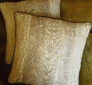 Jed Johnson Faux Bois Fabric Custom Designer Throw Pillows New Set 2