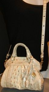 New Brahmin Louisa Oyster Cocco Jenny Leather Satchel Shoulder Handbag