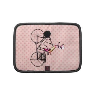 Cute French Poodle Dog on Bicycle Pink Polka Dots Folio Planners